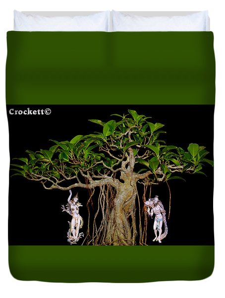 Oriental Bonsai Gods Duvet Cover