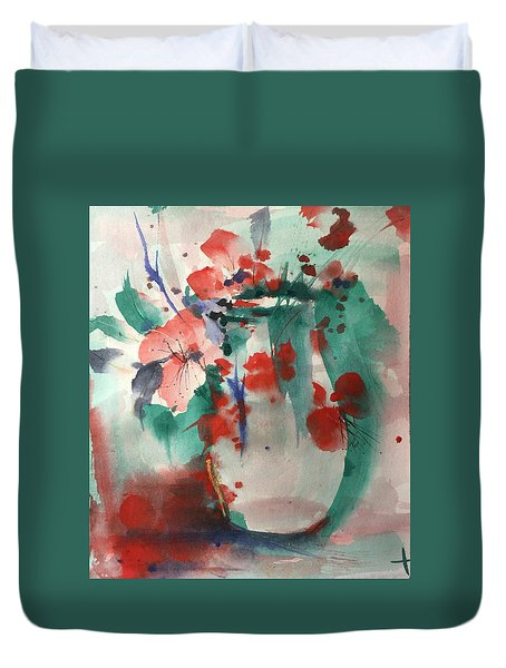 Oriental Brush Flowers And Vase Duvet Cover
