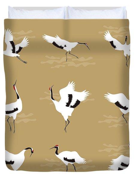 Oriental Cranes Duvet Cover