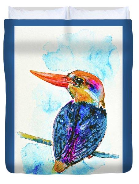 Oriental Dwarf Kingfisher Duvet Cover by Zaira Dzhaubaeva