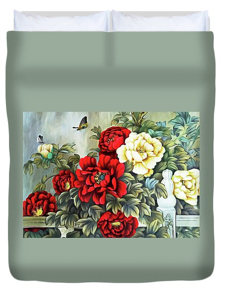 Duvet Cover featuring the photograph Oriental Flowers by Munir Alawi