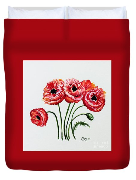 Duvet Cover featuring the painting Oriental Poppies by Elizabeth Robinette Tyndall