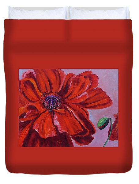 Oriental Poppy With Bud Duvet Cover