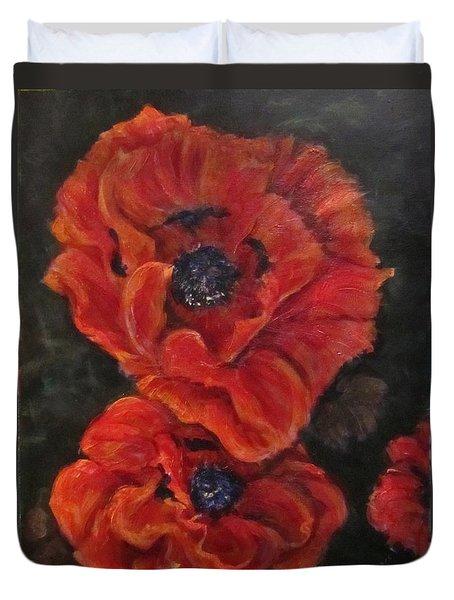 Oriental Poppys  Duvet Cover by Barbara O'Toole