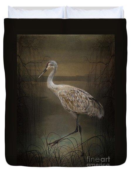 Oriental Sandhill Crane Duvet Cover