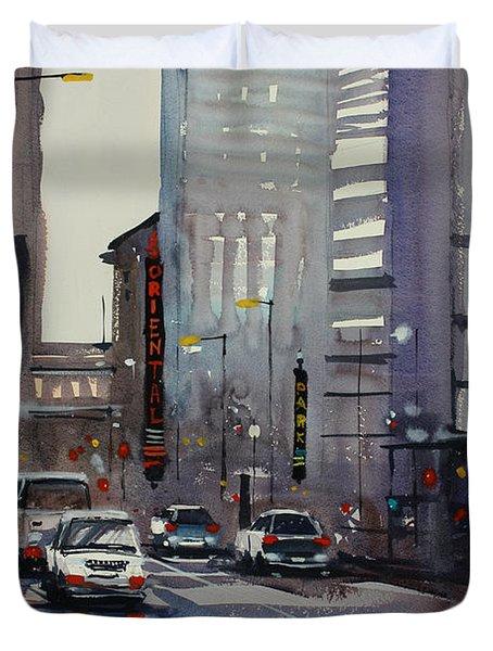 Oriental Theater - Chicago Duvet Cover by Ryan Radke