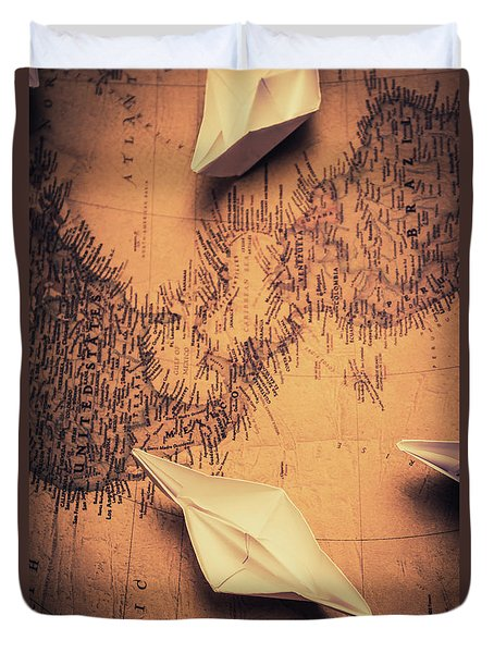 Origami Boats On World Map Duvet Cover