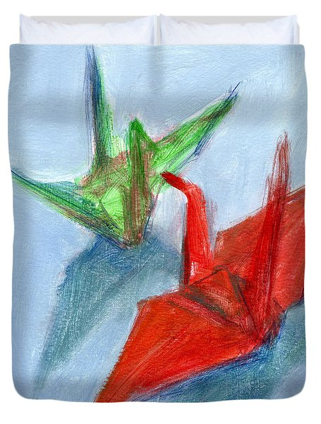 Origami Cranes Duvet Cover