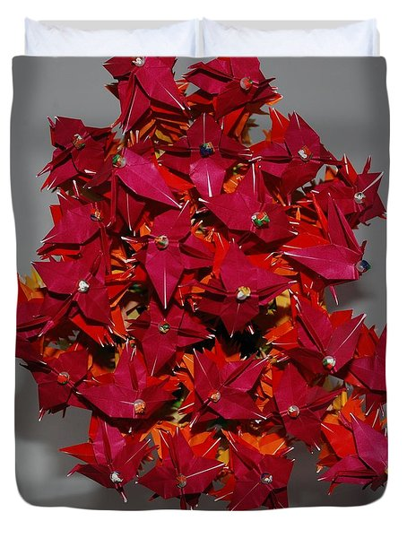 Origami Flowers Duvet Cover by Rob Hans
