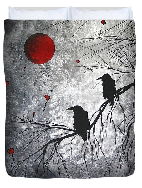 Original Abstract Surreal Raven Red Blood Moon Painting The Overseers By Madart Duvet Cover
