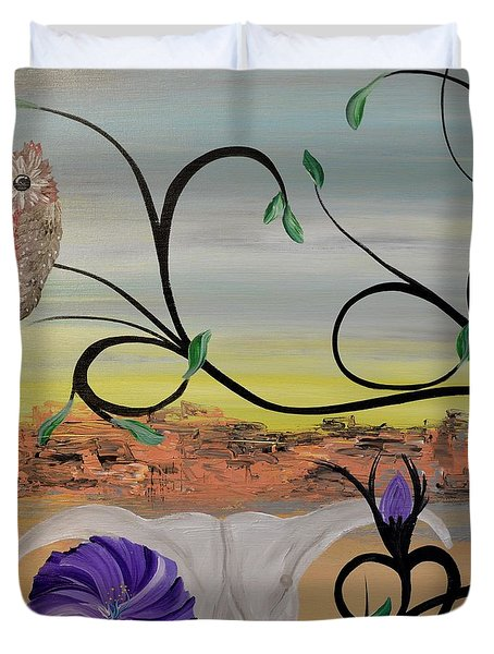 Original Acrylic Artwork By Mimi Stirn - Hoomasters Collection -hooo'keeffe #415 Duvet Cover