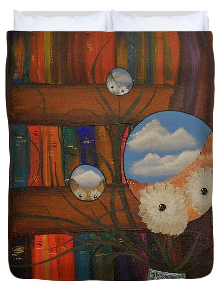 Original Artwork By Mimi Stirn - Hoomasters Collection - Hoo Magritte #411 Duvet Cover