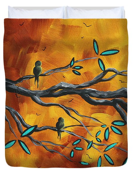 Original Bird Landscape Art Contemporary Painting After The Storm II By Madart Duvet Cover by Megan Duncanson
