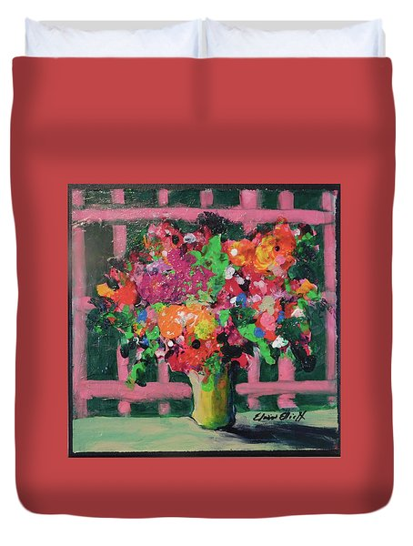 Original Bouquetaday Floral Painting By Elaine Elliott 59.00 Incl Shipping 12x12 On Canvas Duvet Cover