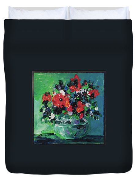 Original Bouquetaday Floral Painting By Elaine Elliott, Blues And Greens, 12x12, 59.00 Incl. Shippin Duvet Cover