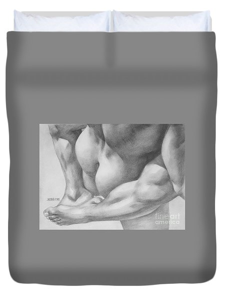 Original Charcoal Drawing Art Gay Interest Men  On Paper #16-3-11 Duvet Cover by Hongtao Huang
