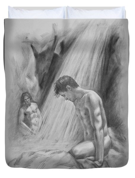 Original Charcoal Drawing Art Male Nude By Twaterfall On Paper #16-3-11-16 Duvet Cover by Hongtao Huang
