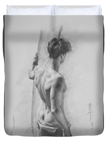 Original Charcoal Drawing Art Male Nude  On Paper #16-3-11-12 Duvet Cover by Hongtao Huang