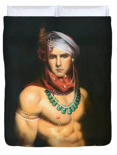 Original Classic Oil Painting Man Body Art-male Nude -068 Duvet Cover by Hongtao     Huang