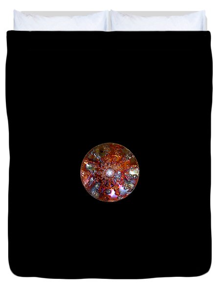 Duvet Cover featuring the digital art Original Copper Lightmandala Antares Radial Matrix by Robert Thalmeier