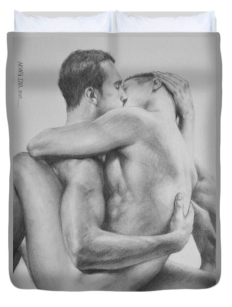 Original Drawing Sketch Charcoal   Male Nude Gay Interest Man Art Pencil On Paper -0034 Duvet Cover by Hongtao     Huang