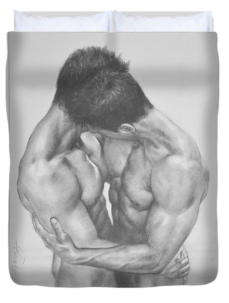 Original Drawing Sketch Charcoal  Male Nude Gay Interest Man Art Pencil On Paper -0041 Duvet Cover by Hongtao     Huang