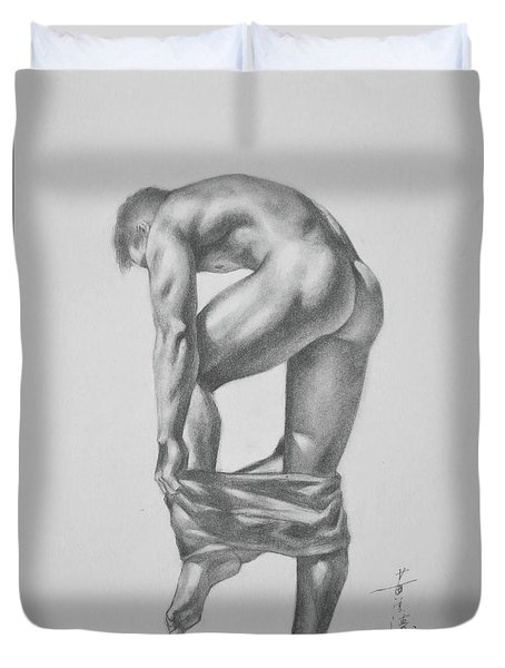 Original Drawing Sketch Charcoal Pencil Gay Interest Man Art  On Paper #11-17-14 Duvet Cover by Hongtao     Huang