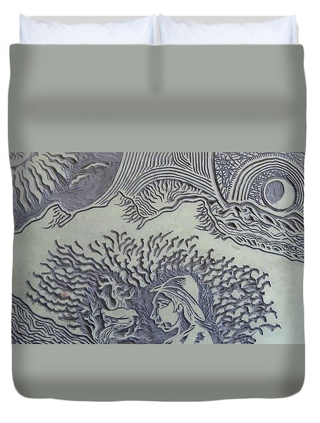 Original Linoleum Block Print Duvet Cover by Thor Senior