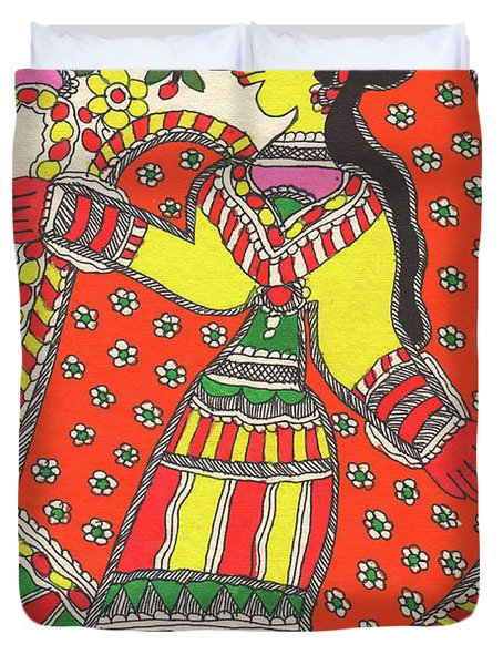 Original Madhubani Painting Indian Village Woman Portrait Watercolor Traditional Artwork. Duvet Cover