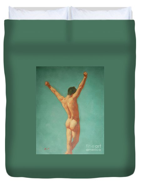 Original Male Nude Oil Painting Gay Boy Art On Linen-0022 Duvet Cover