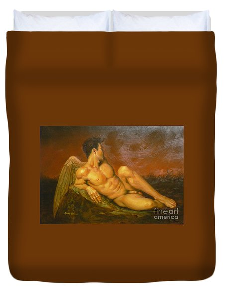 Original Oil Painting Art  Male Nude Of Angel Man On Canvas #11-16-01 Duvet Cover by Hongtao Huang