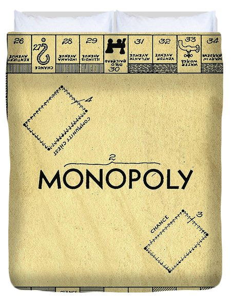 Original Patent For Monopoly Board Game Square Duvet Cover