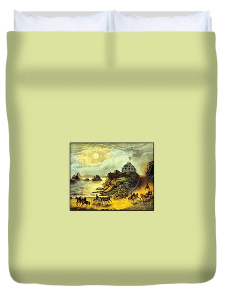 Duvet Cover featuring the painting Original San Francisco Cliff House Circa 1865 by Peter Gumaer Ogden