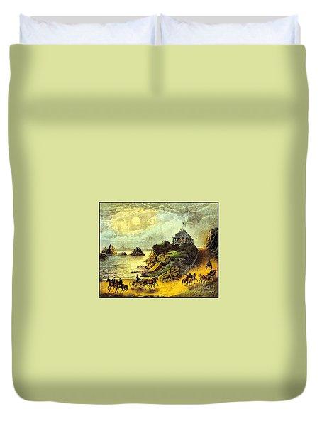 Original San Francisco Cliff House Circa 1865 Duvet Cover by Peter Gumaer Ogden