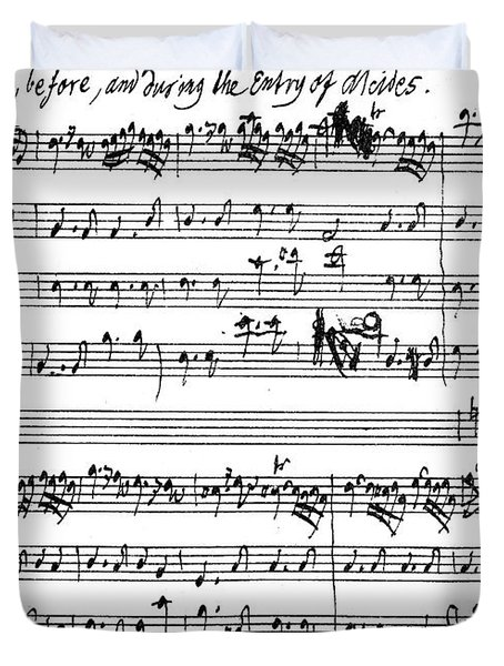 Original Score Of The Beginning Of The Symphony Accompanying The Entry Of Alcides Duvet Cover