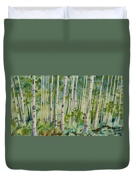 Original Watercolor - Summer Aspen Forest Duvet Cover