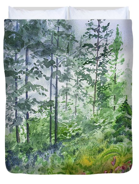 Original Watercolor - Summer Pine Forest Duvet Cover