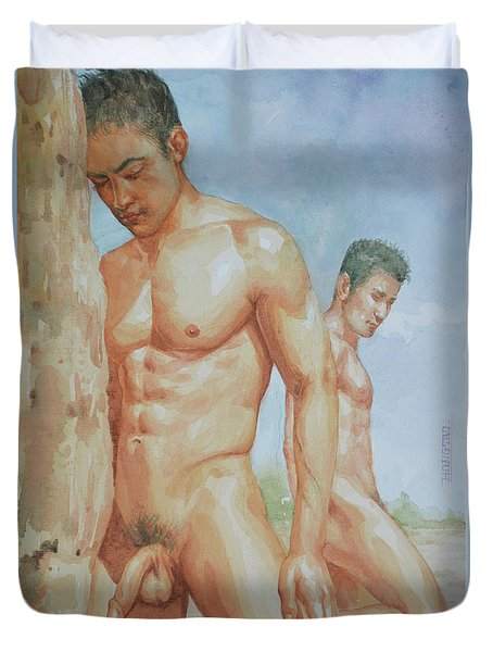 Original Watercolour Painting Art Young Men Male Nude Boys  On Paper #16-1-26-15 Duvet Cover
