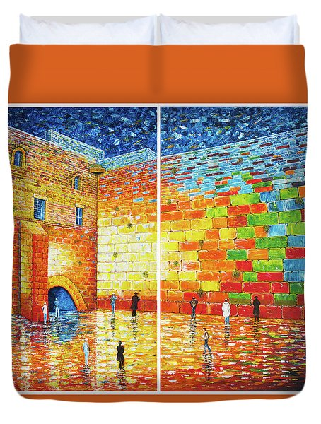 Duvet Cover featuring the painting Original Western Wall Jerusalem Wailing Wall Acrylic 2 Panels by Georgeta Blanaru