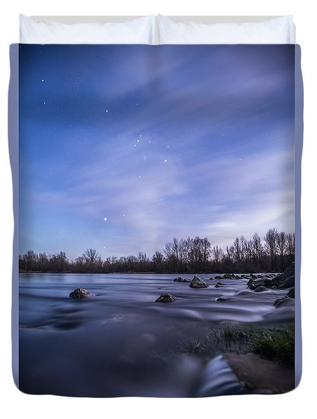 Duvet Cover featuring the photograph Orion Above The River by Davorin Mance
