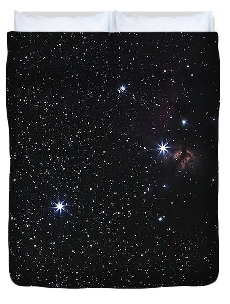Orions Belt, Horsehead Nebula And Flame Duvet Cover by Luis Argerich