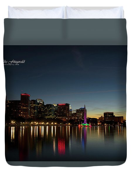 Orlando Beautiful Lake Eola Sunset Duvet Cover