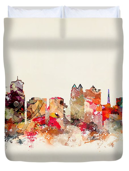 Orlando Florida Skyline Duvet Cover