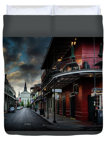 Orleans Street To St Louis Cathedral Duvet Cover