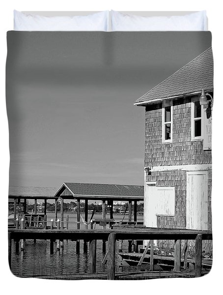 Ormond Yacht Club Black And White Duvet Cover by DigiArt Diaries by Vicky B Fuller