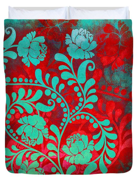 Duvet Cover featuring the digital art Ornamental Trip The Night Fantastic by Angelina Vick