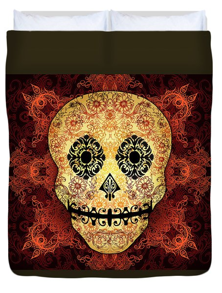Ornate Floral Sugar Skull Duvet Cover
