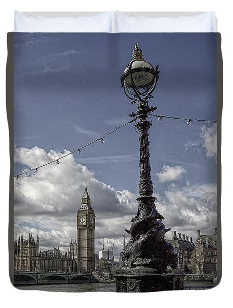 Ornate Lamp And Parliament, London Duvet Cover