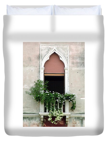 Duvet Cover featuring the photograph Ornate Window With Red Shutters by Donna Corless