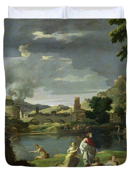Orpheus And Eurydice Duvet Cover by Nicolas Poussin